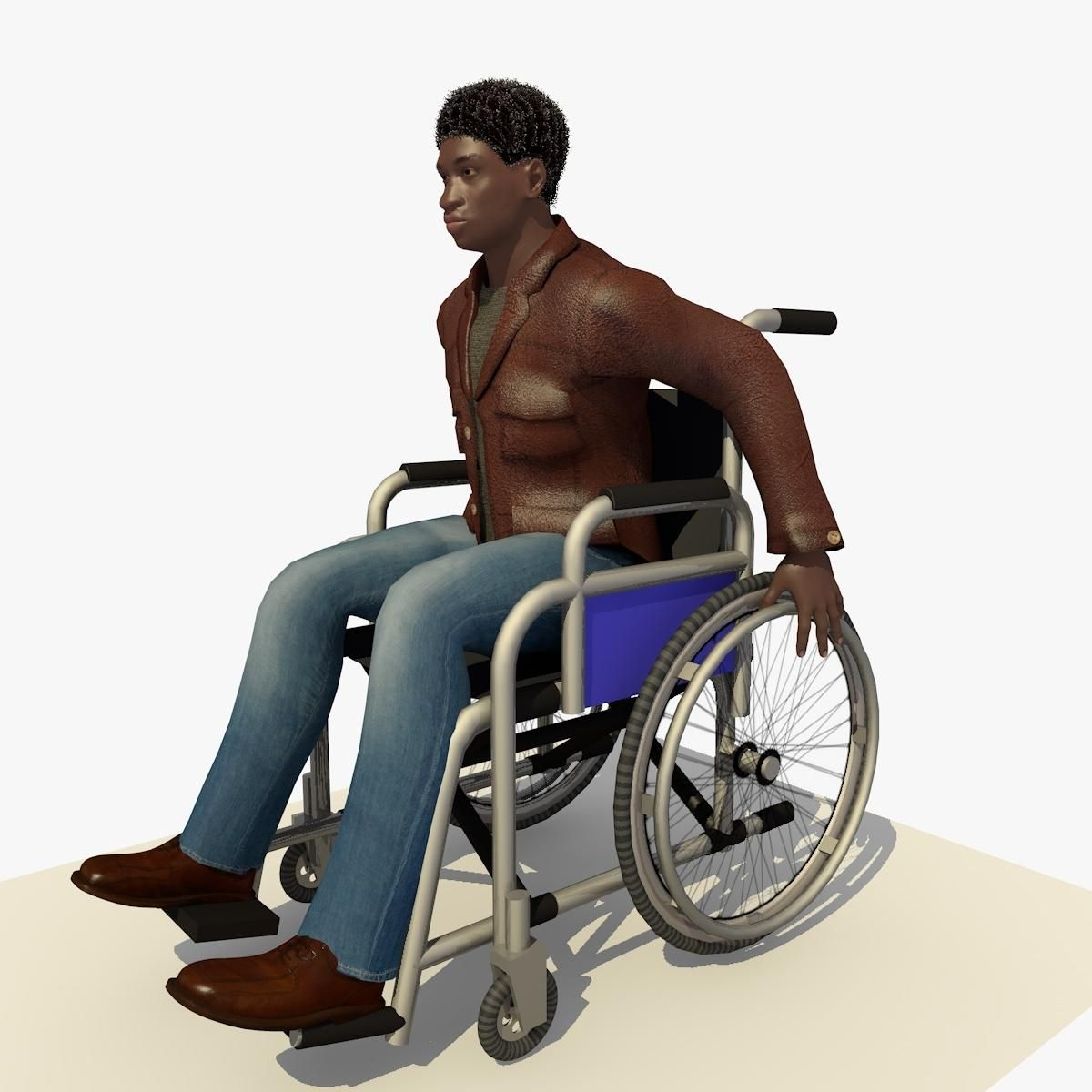 Animated Disabled Young African Man In A Wheel Chair 3d Model Ad Young African Animated Disabled African Men Man Animation