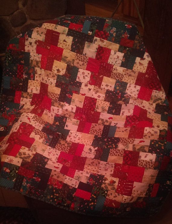 Christmas Lap Quilt, Lap Quilt, Seasonal, Red and Green, 44 x 45 inches, Table Topper