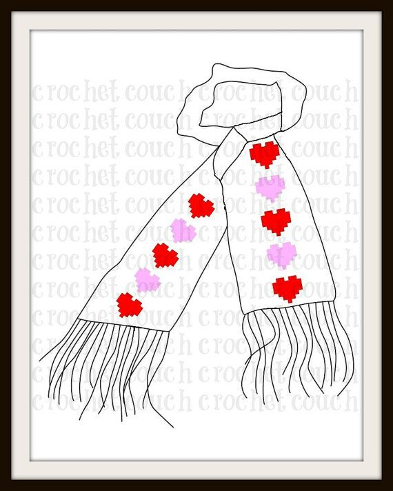 Hearts Scarf C2C Graph Crochet Pattern by CrochetCouch on