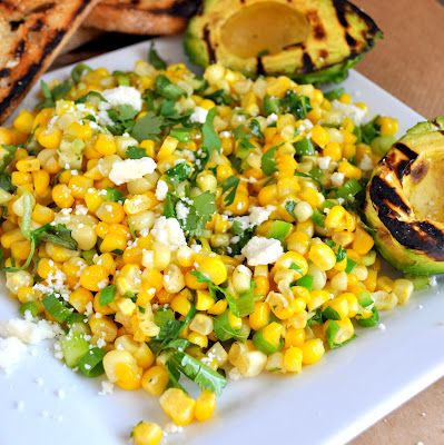 Grilled Avocado and Corn Salad