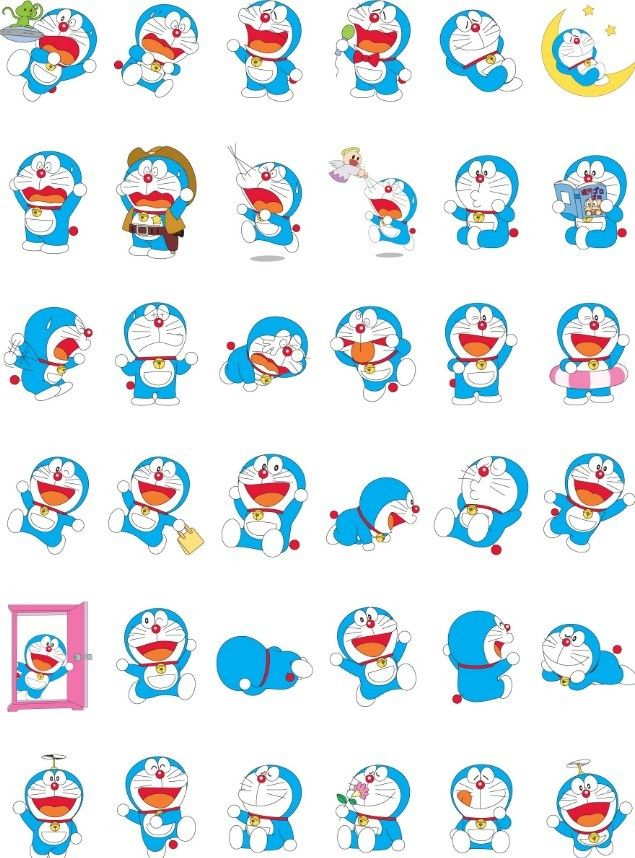 Free Set Of Vector Cartoon Doraemon Icons - TitanUI