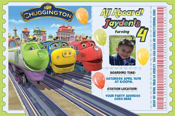 Personalized Chuggington Train Ticket Birthday Invitation