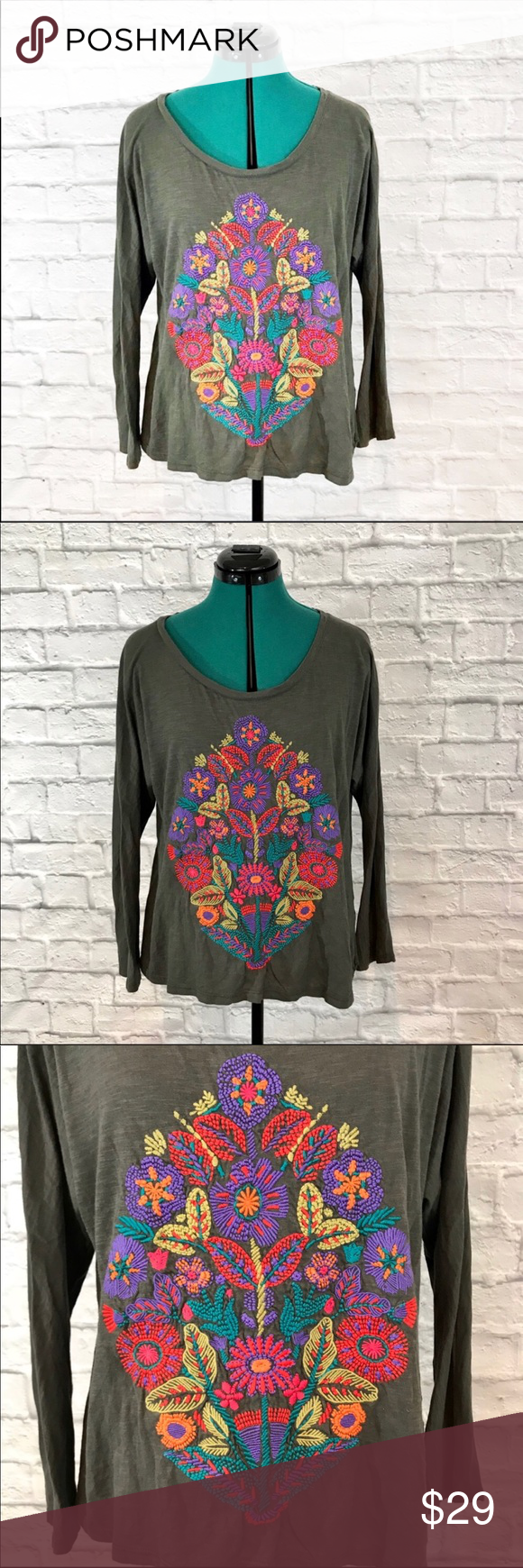 cb68181bae0 Lucky Brand Scoop Neck Floral Embroidered Tee EUC. Measurements (laid flat  and inches