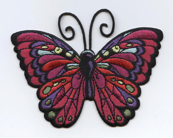 Large Butterfly Dark Fuchsia//Jewel Tones Iron on Applique//Embroidered Patch