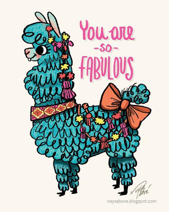 Fabulous Llama Blank Greeting Card Artist By Thefancyfoxshop