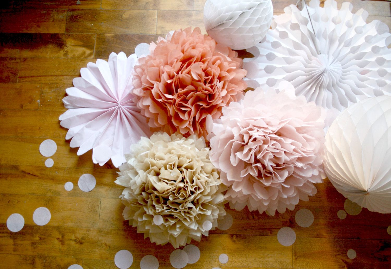 Wedding Decor Paper Pom Decorations Neutral Nude Blush Pink