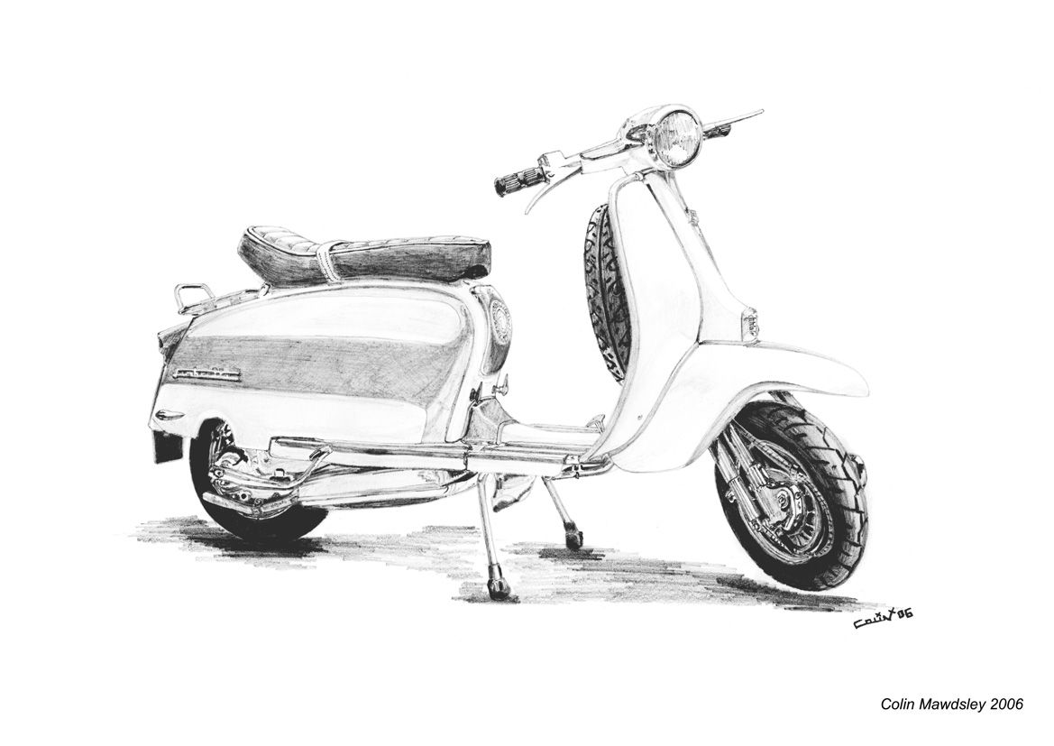Lambretta Scooter Drawing