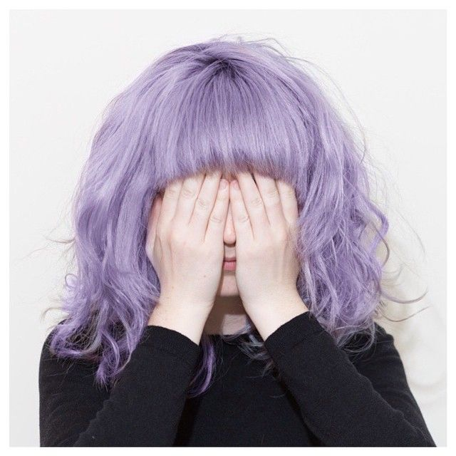 See No Evil Adorable Wavy Lilac Lob With Full Bangs Purple