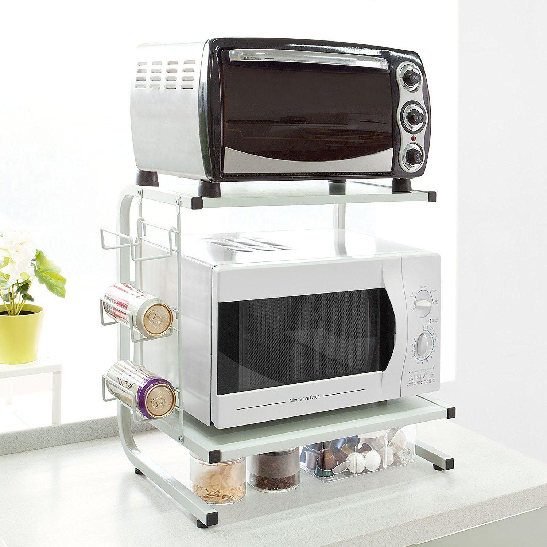 SoBuy® FRG092-W Étagères Micro Ondes De Cuisine Mini-étagère Four Micro-