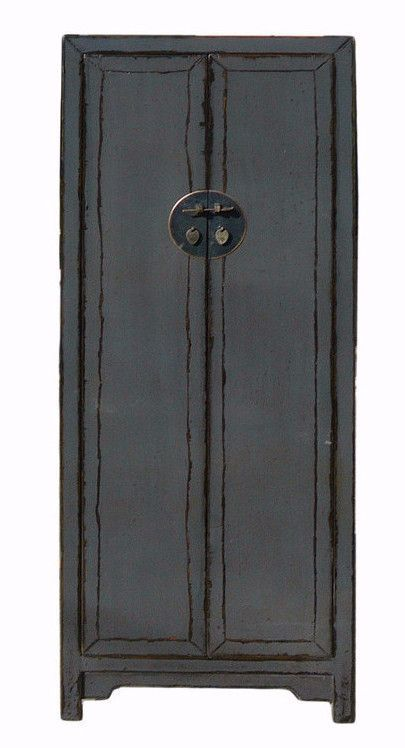Chinese Distressed Rustic Gray Tall Narrow Storage Cabinet cs1150S