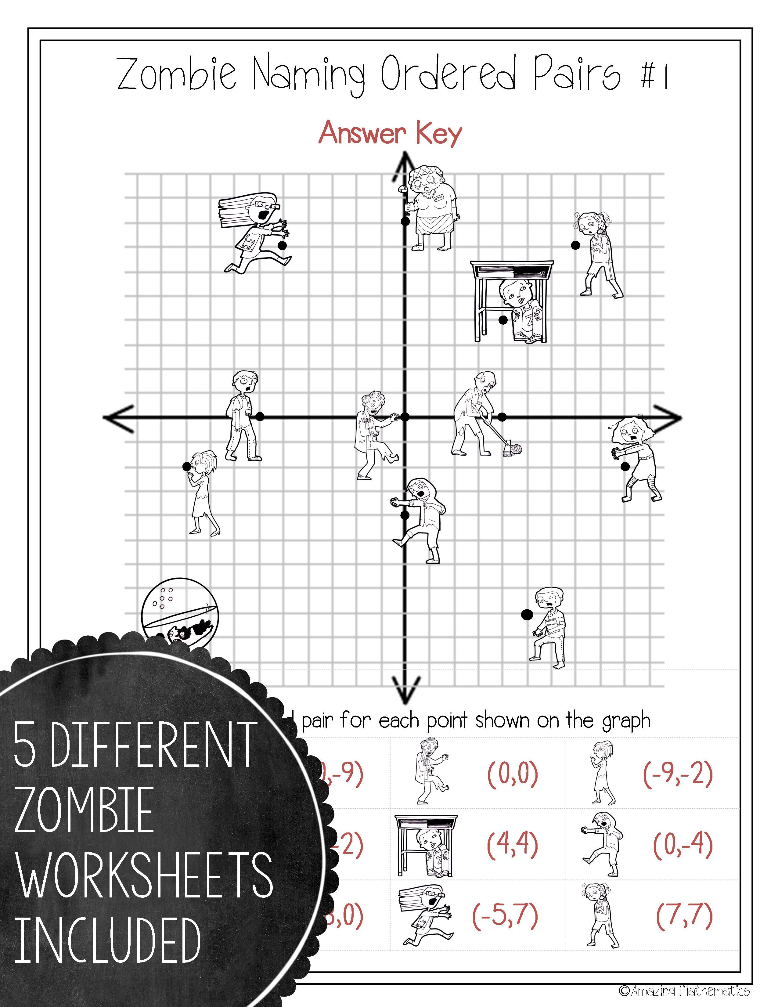 Zombie Naming Ordered Pairs Worksheet