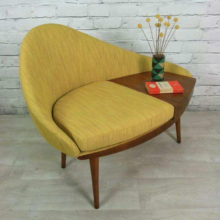 Mustard Yellow Chair With A Built In Table Affordable Mid