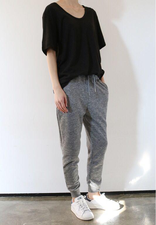 Grey jogging pants Korean Fashion Tomboy 8dcdc99059d30