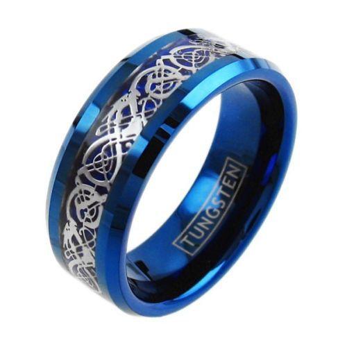 8mm Tungsten Blue Ring Celtic Dragon Blue Carbon by ModernMintShop