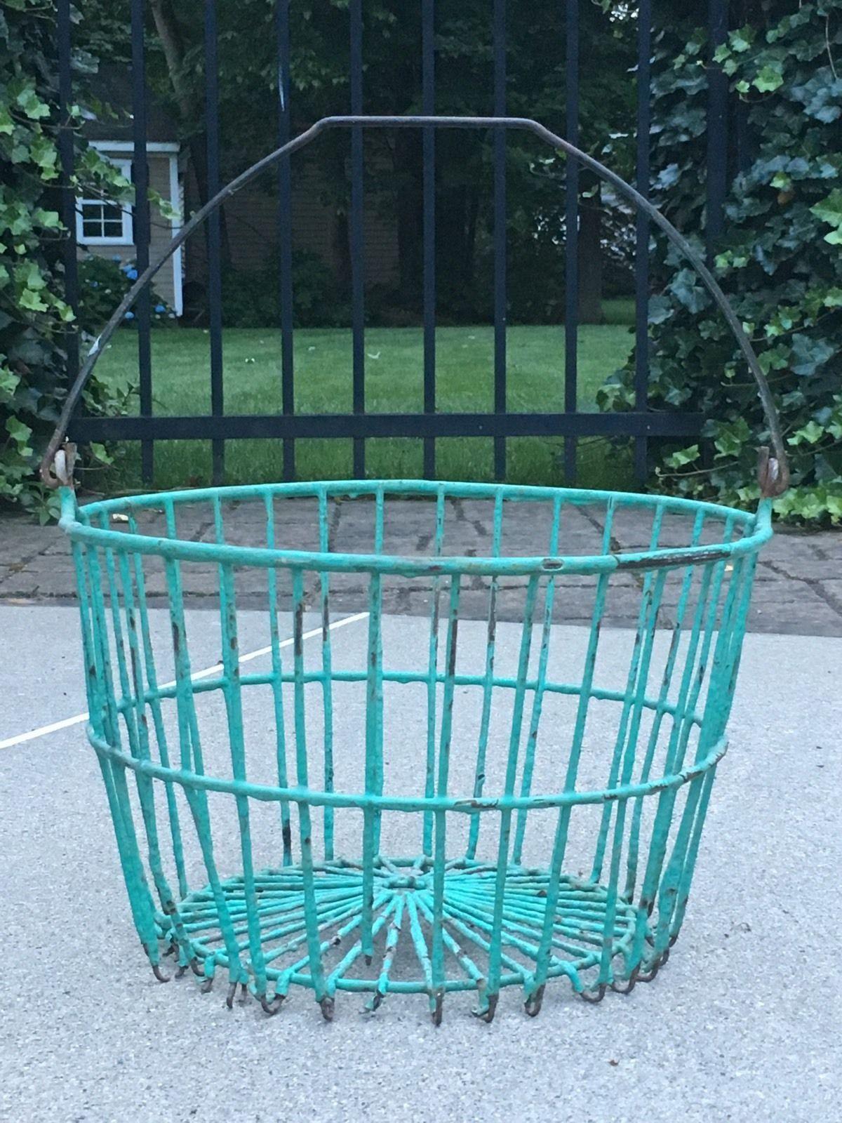 Vintage Green Plastic Coated Wire Egg Gathering Basket | eBay ...