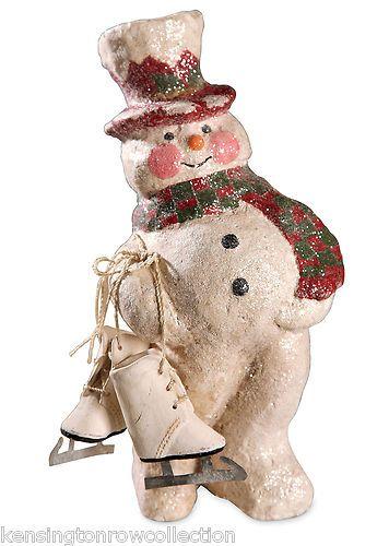 0b6ddfc394466d  SNOWMAN ~ Bethany Lowe Christmas Skating Snowman AL8770