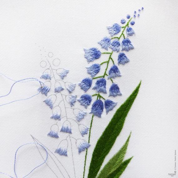 Bellevalia - Embroidery kit, Leaves embroidery, Botanical embroidery, Botanical Art, Green flowers,