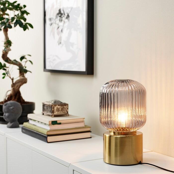 Solklint Tafellamp Messing Grijs Helder Glas 28 Cm Ikea Helder Glas Tafellamp Glazen Tafellampen