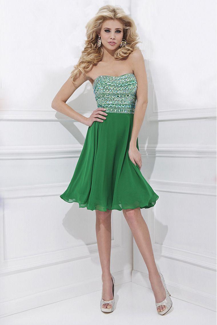 2014 strapless a line shortmini prom dress chffon with
