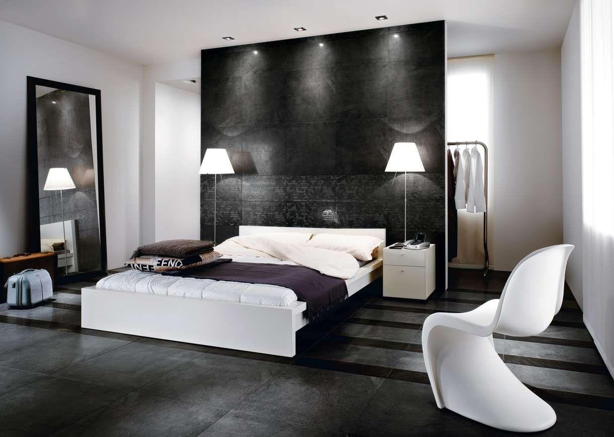 Chambre Moderne Design Blanc Gris Noir Carrelage Fauteuil Lit Adulte - Table de lit design