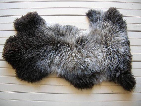 Karakul Wool Sheepskin Rug grey/black  USA #110
