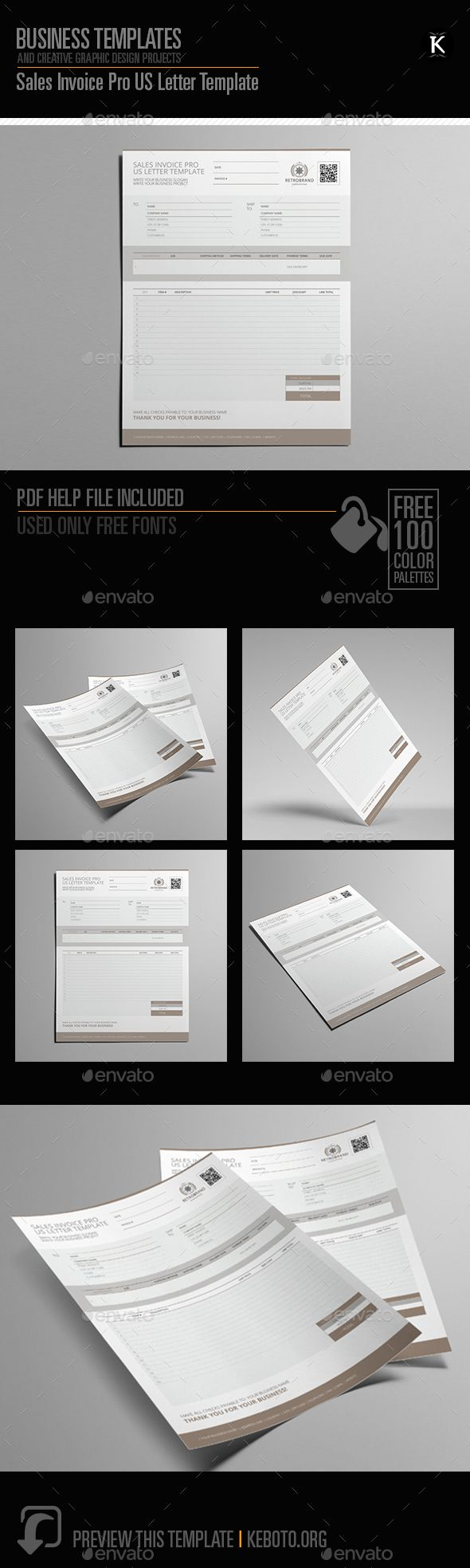 Sales Invoice Pro Us Letter Template Graphic Design Templates Graphic Design Vector Icons Free