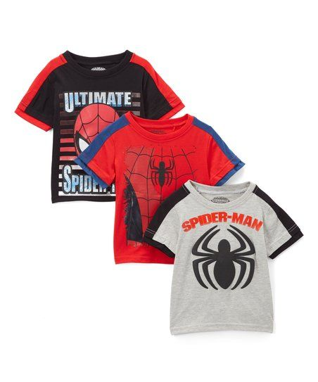 Childrens Apparel Network Spider-Man Black, Red & Gray Tee Set - Toddler & Boys | zulily