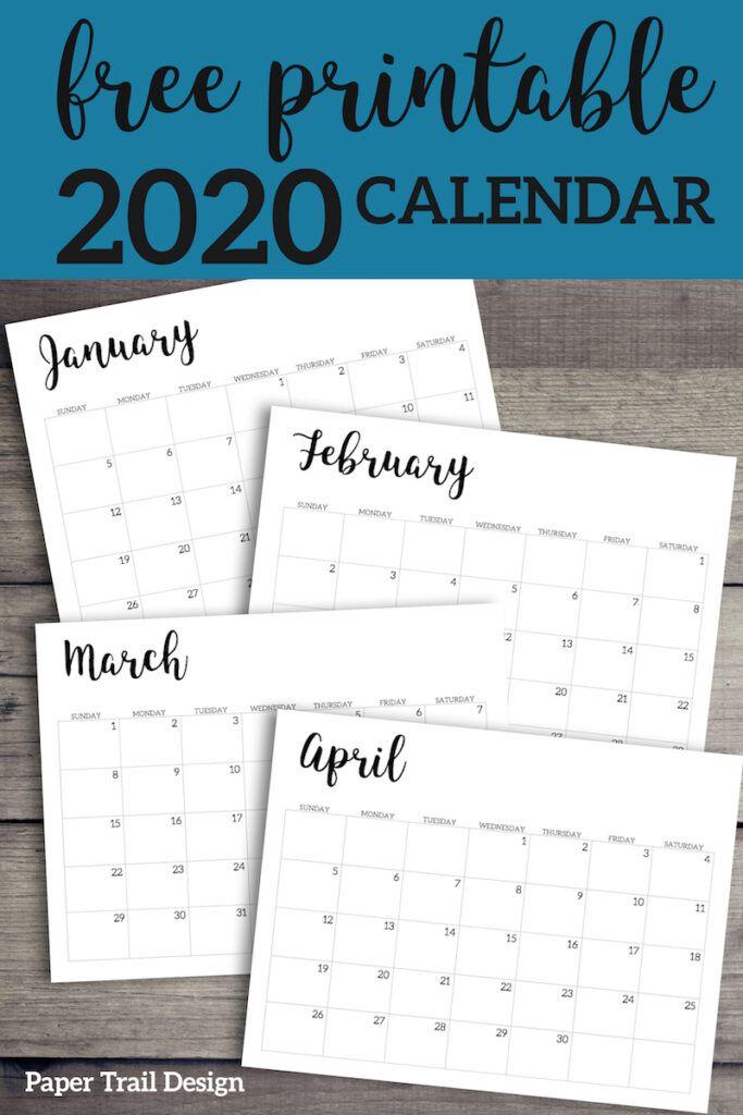 2020 Calendar Printable Free Template