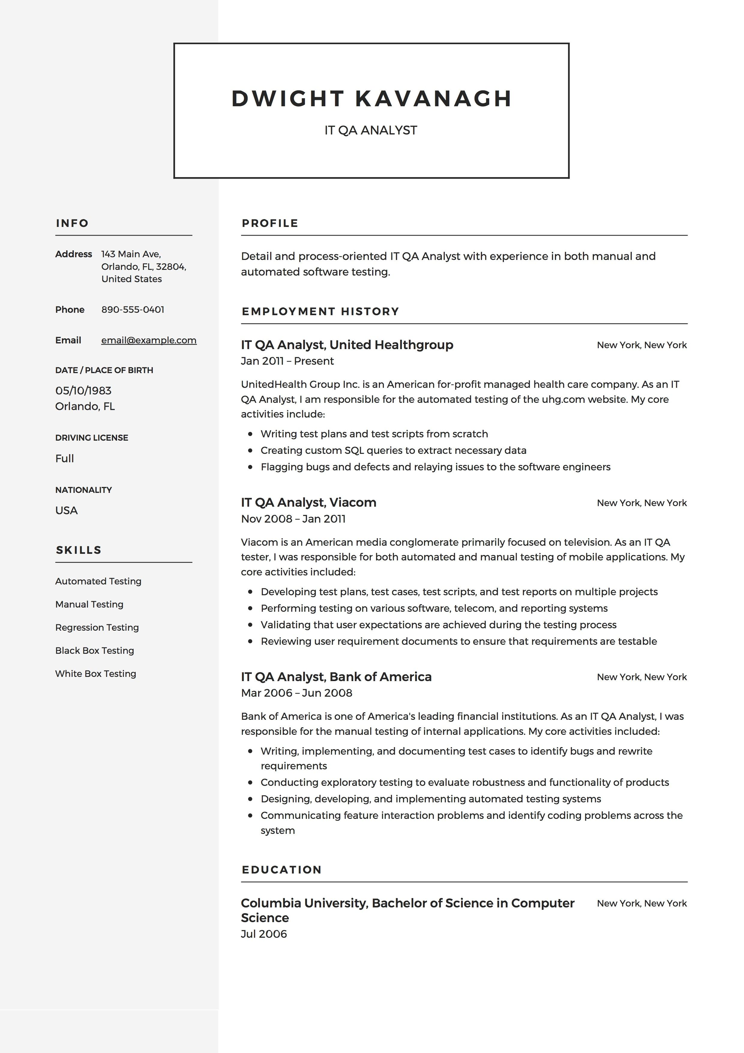 IT QA Analyst Resume Example, Template, Sample, CV, Formal
