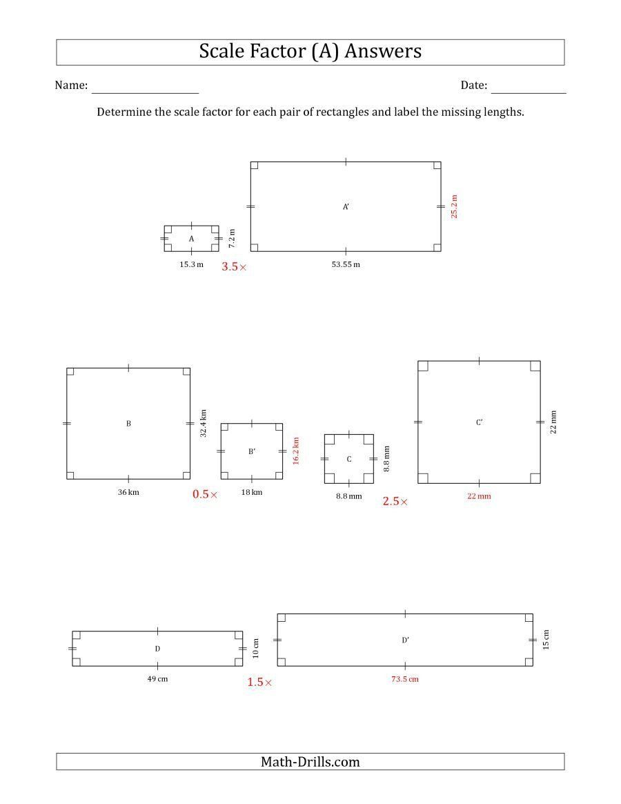 Scale Factor Worksheet 7th Grade The Determine The Scale Factor Between Two Rectangles And In 2020 Worksheets Scale Drawing Worksheet Template