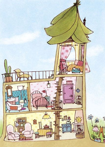 Inside House Drawing: Fairy House Cutaway, Casa Di Fata - Spaccato
