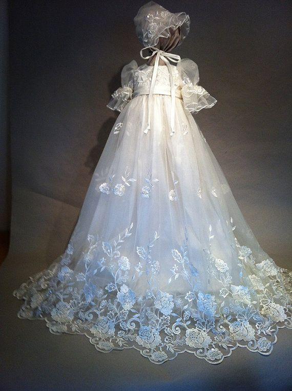d61a4e7171a Angela West Christening gown set Lauren Rose ivory size TBD bonnet ...