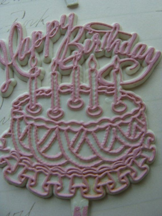 6 Gorgeous Antique 1940s Pink And Blue Vintage Kitsch Wilton Birthday Cake Toppers Picks Lot