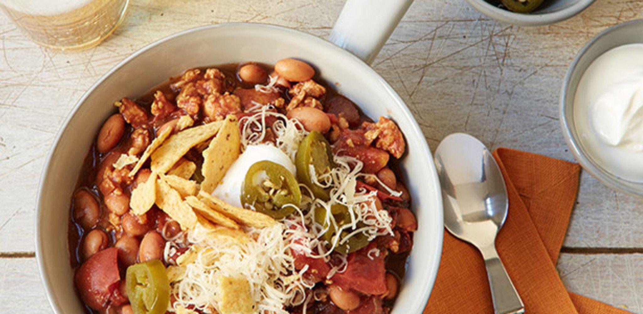Slow Cooker Turkey Chili Recipe Chili Recipe Turkey Slow Cooker Turkey Chili Food Network Recipes