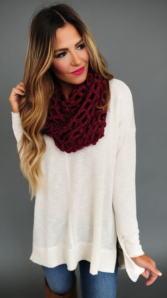 Net Infinity Scarf- Maroon - Dottie Couture Boutique