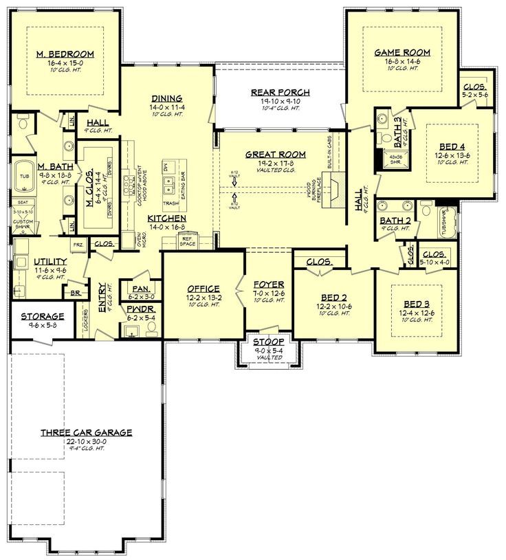 Texas Ranch Style Open Floor Plan Four Large Bedrooms Large Game Room Vo Home Design Inspiration Floor Plans Ranch House Plans One Story Coastal House Plans