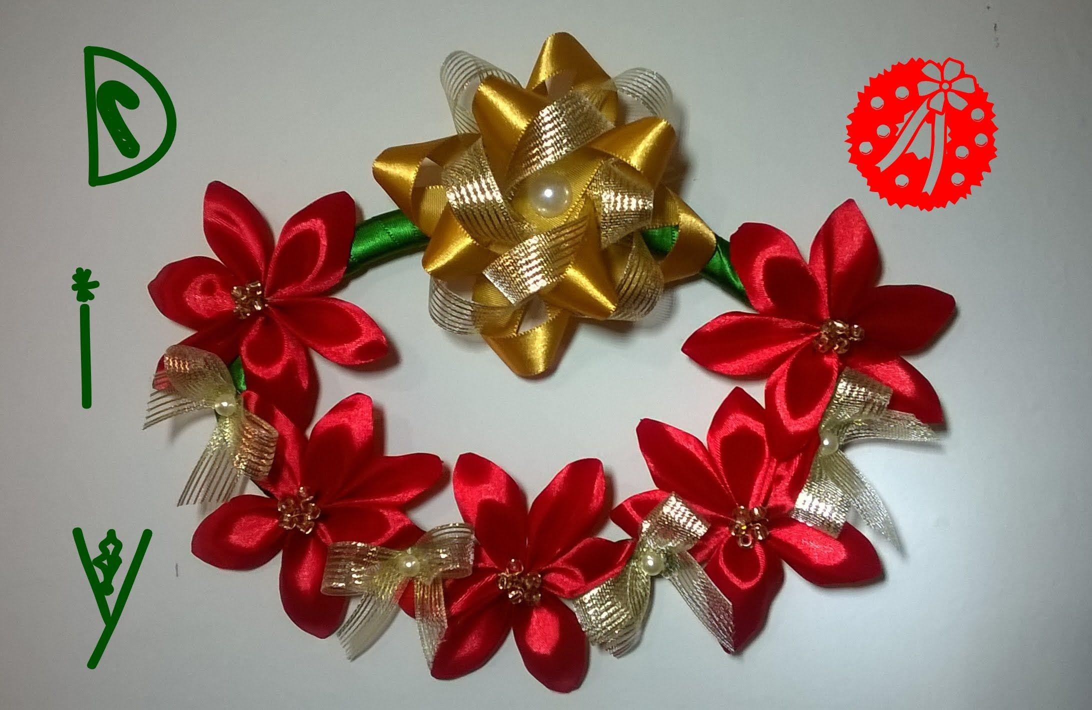 Guirlanda Natal Com Flores De Fita Christmas Wreath With Ribbon