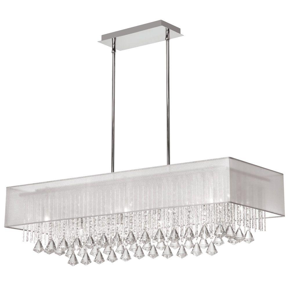 10 light horizontal crystal chandelier polished chrome white 10 light horizontal crystal chandelier polished chrome white laminated organza shade arubaitofo Gallery