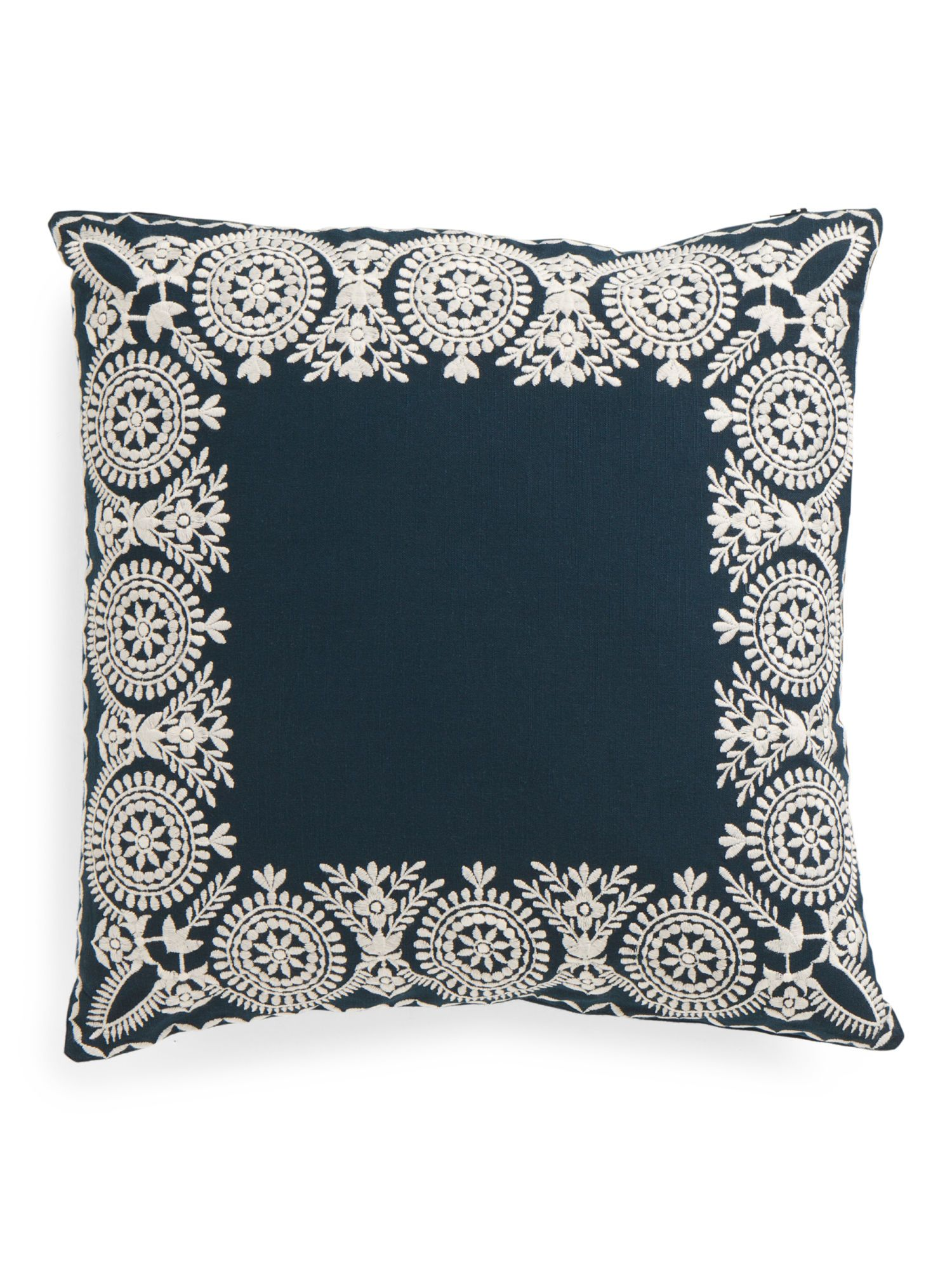 Made In India 18x18 Embroidered Border Pillow Cojines