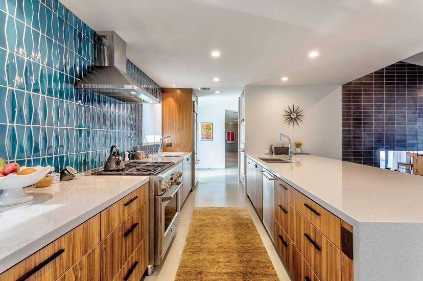brown cabinets mid century kitchen design  home