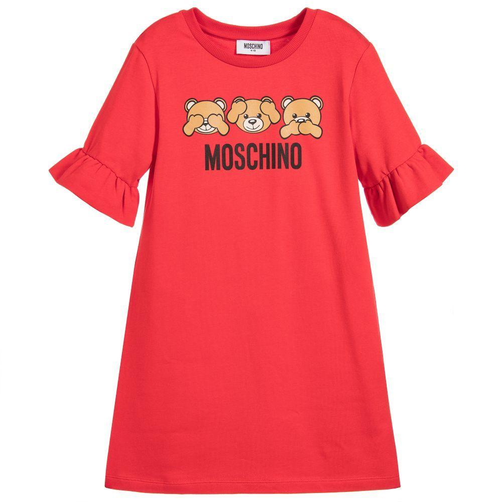 8ac72a6c14527 Moschino Kid-Teen - Girls Red Teddy Bear Dress