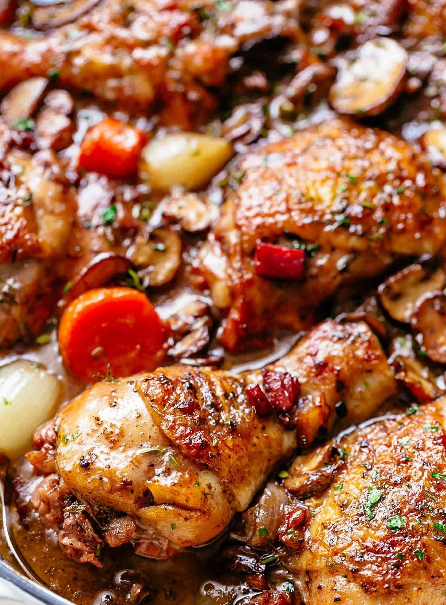 Chicken In Wine Coq Au Vin Chicken Drumstick Recipes Drumstick Recipes Chicken Dinner