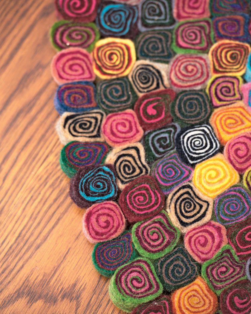 Millefleur Felted Wool Rug Colorful