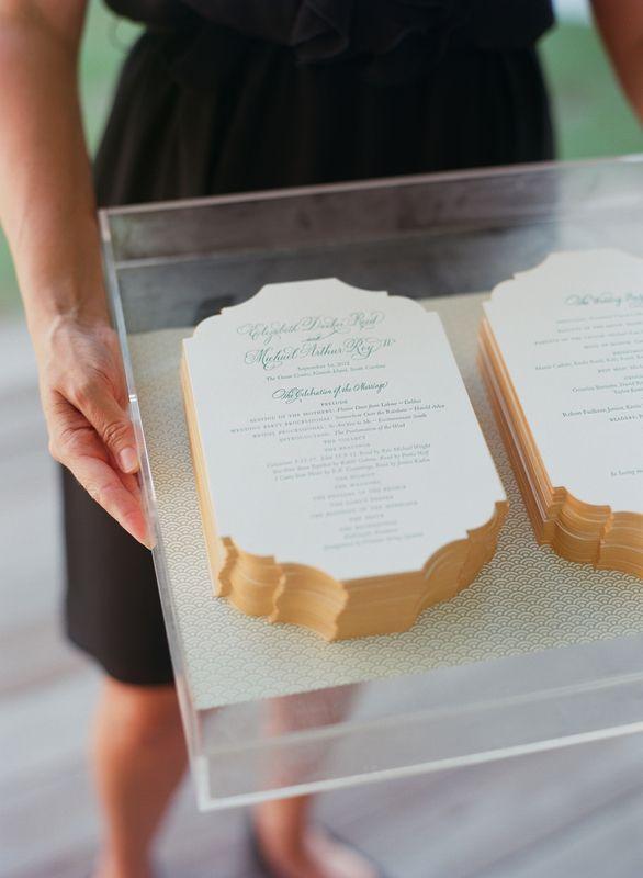 Wedding programs on an acrylic tray at a soiree wedding wedding invitation design solutioingenieria Images