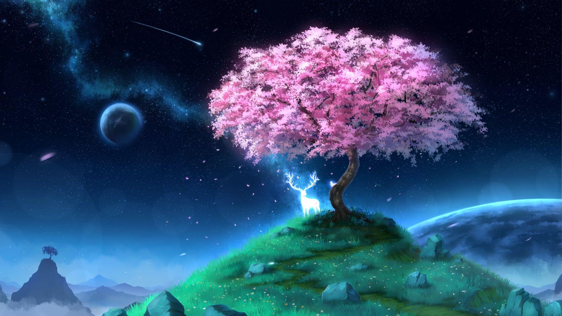 HD wallpaper Anime, Original, Deer, Planet, Shooting Star, Starry Sky, Tree Gallery