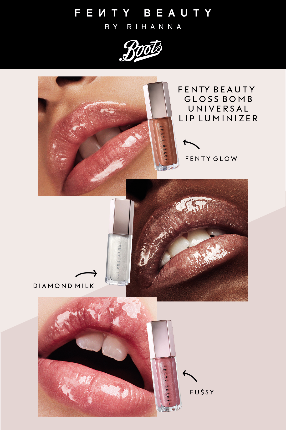 There's no such thing as too much gloss! 3 shades of FENTY