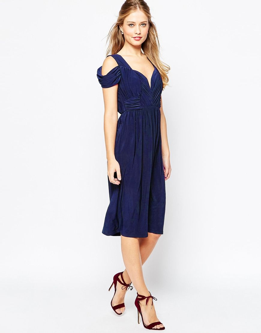 Image of asos wedding drape cold shoulder midi dress rebecca