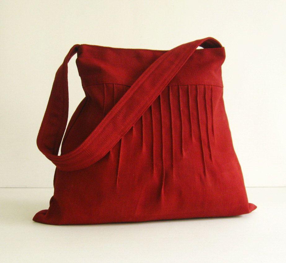 Sale  - Deep Red Hemp/Cotton Lines Bag - Shoulder bag, Diaper bag, Messenger bag, Tote, Travel bag, Women, Purse. $29.00, via Etsy.