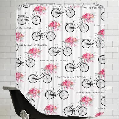 East Urban Home I Want To Ride My Bicycle Single Shower Curtain Curtains Shower Tree Shower Curtains