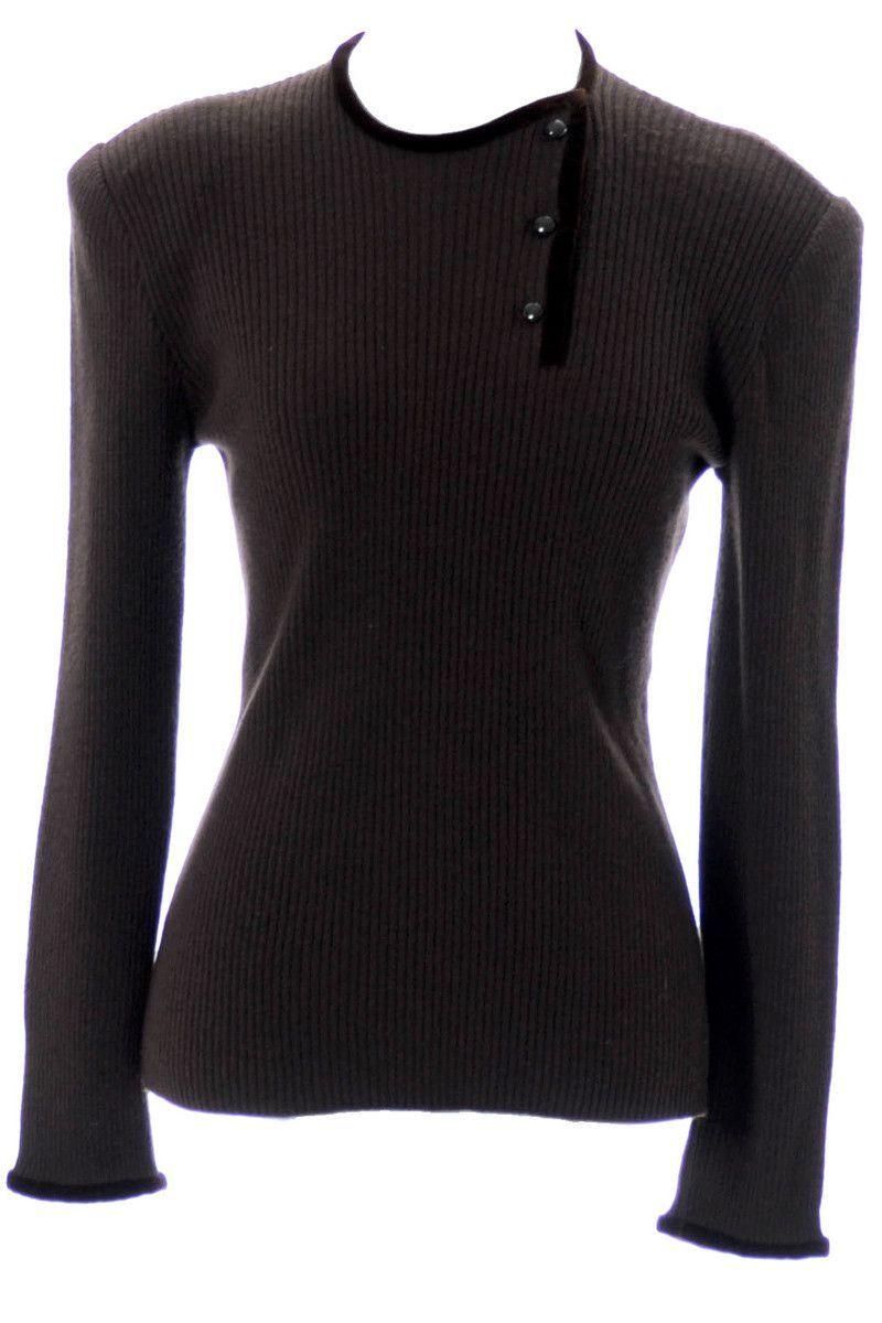 Valentino vintage chocolate brown sweater with velvet trim ...